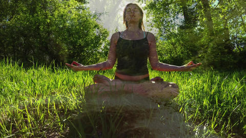 Woman meditating with nature Animation