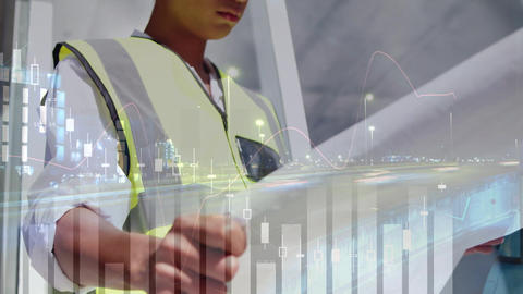 Architect looking at a building plan 4k Animation