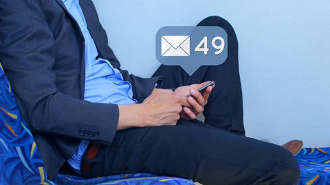 Man checking his messages Animation