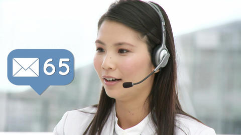 Call centre agent talking to clients Animation