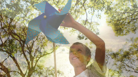 Boy playing with a paper windmill Animation