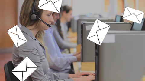 Call centre line up receiving messages Animation