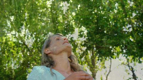 Woman enjoying nature breeze Animation