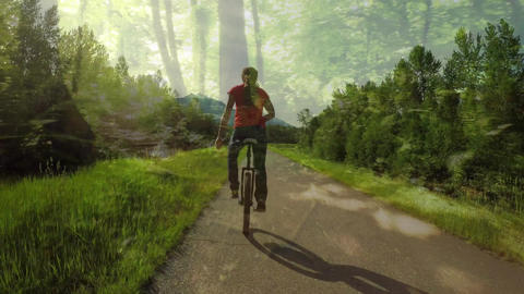 Woman riding a unicycle on a forest trail Animation