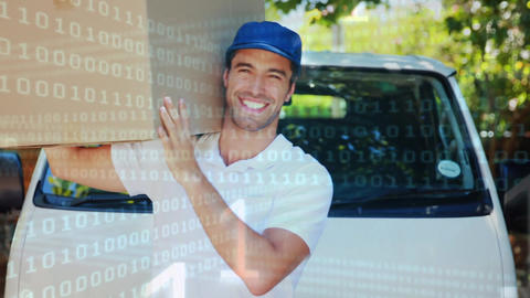 Deliveryman signalling an thumbs up while carrying a package Animation
