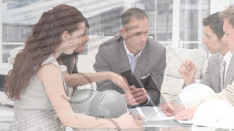 Business people discussing on a meeting table Animation