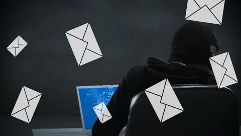 Hacker hacking emails Animation