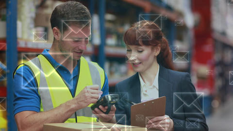 Warehouse manager talking to her worker Animation