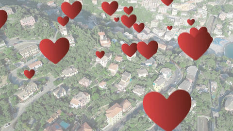 Residential houses with hearts 4k Animation