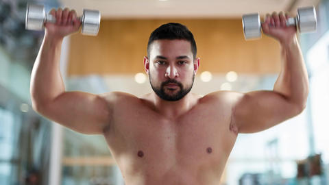 Bodybuilder working out with dumbbells 4k Animation