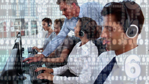 Call centre agents and their manager Animation
