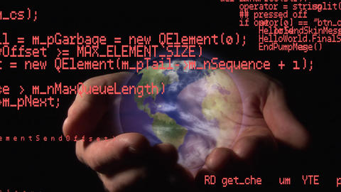 Interface codes and hands holding a globe Animation
