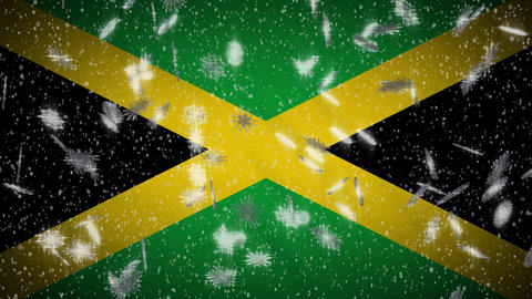 Jamaica flag falling snow loopable, New Year and Christmas background, loop Animation