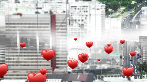 city with flying hearts icons 4k Animation