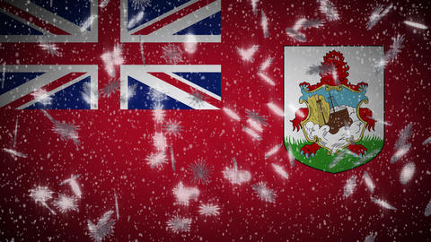 Bermuda flag falling snow loopable, New Year and Christmas background, loop Animation