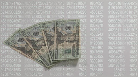 Money piling up with number codes Animation