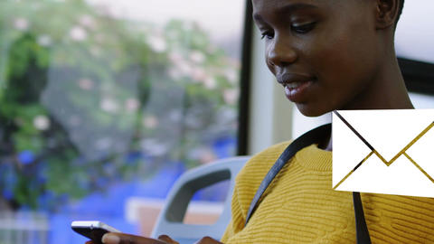 African-american boy texting 4k Animation