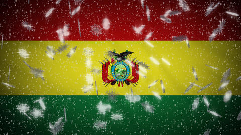 Bolivia flag falling snow loopable, New Year and Christmas background, loop Animation