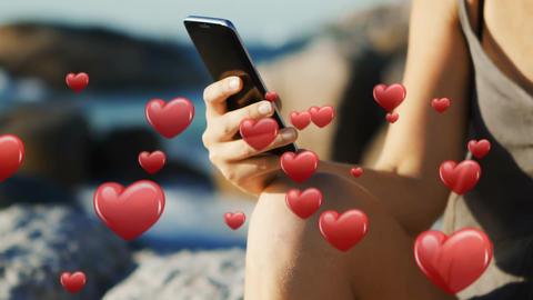 Woman sitting near the beach texting 4k Animation