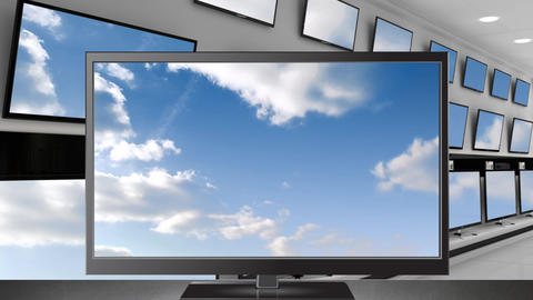 blue sky on a television screen Animation