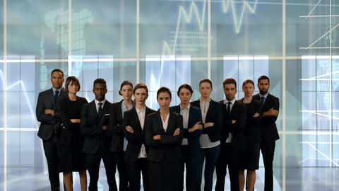 Business team with serious with faces Animation