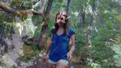 Woman walking in a forest Animation