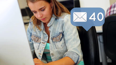Teen girl checking her emails Animation