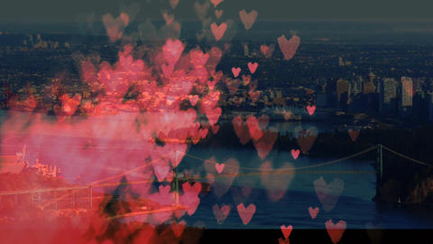 City filled with hearts Animation