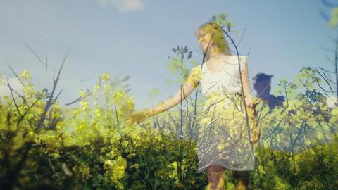 Woman walking in the flower garden Animation