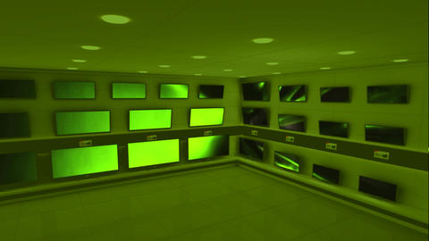 Displayed monitors showing green light flashes Animation