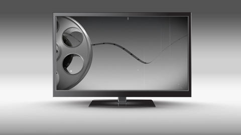 Flat screen television with film roll Animation