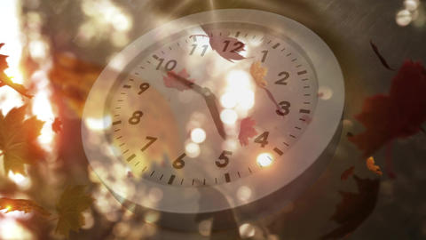 White clock and falling leaves Animation