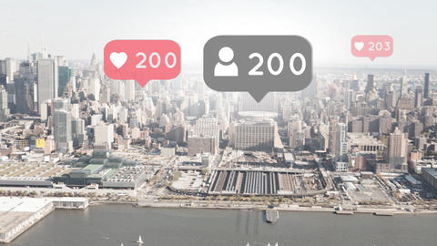 Wide city view with social media icons Animation