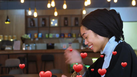 Woman in love texting in a restaurant 4k Animation