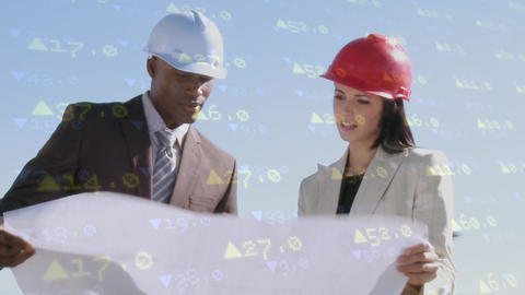 Architect and engineer reviewing plans Animation