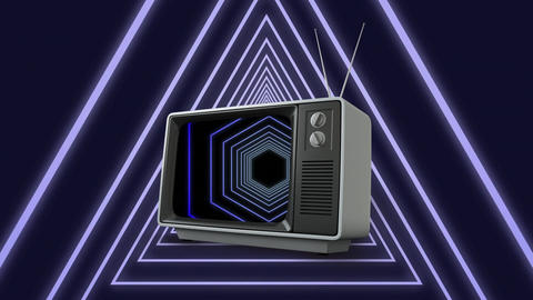 Television with concentric shapes Animation