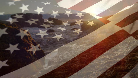 Rocky shore with an American flag Animation