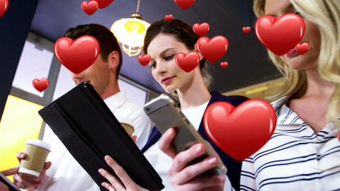 Office workers checking their mobile devices while on a coffee break 4k Animation