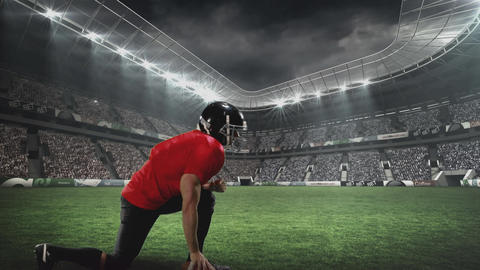 American football player kneeling for defence Animation