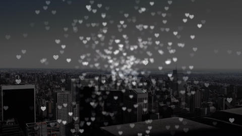 City view with digital hearts Animation