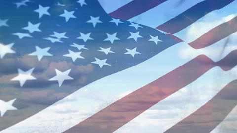 American flag on a bright cloudy sky Animation