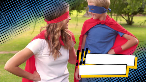 Mother with her son wearing superhero costumes Animation