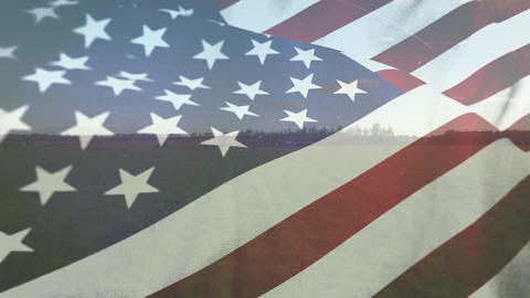 American flag on the field Animation