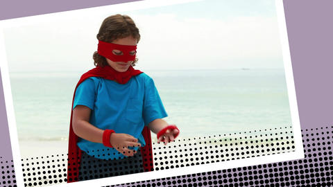 Kid playing superhero Animation