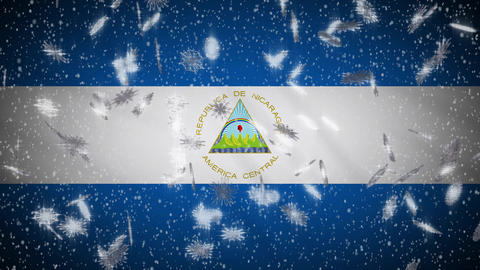 Nicaragua flag falling snow loopable, New Year and Christmas background, loop Animation