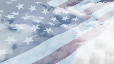 American flag waving in a cloudy sky Animation