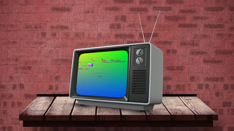 Television on top of a wooden table Animation