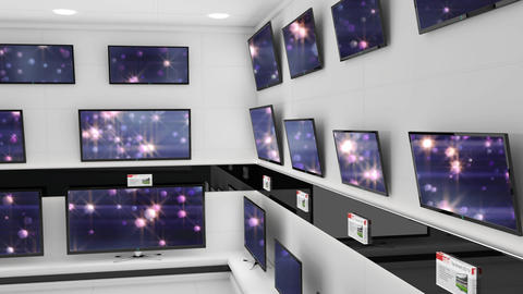 Flat screen televisions with shining lights on their screens Animation