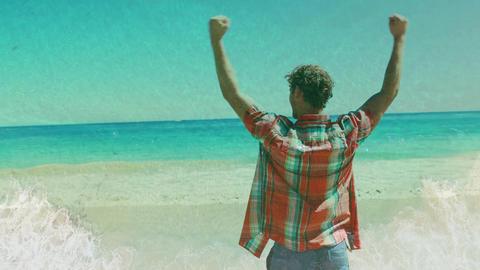 Man celebrating on the beach 4k Animation
