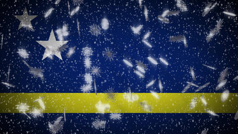 Curacao flag falling snow loopable, New Year and Christmas background, loop Animation